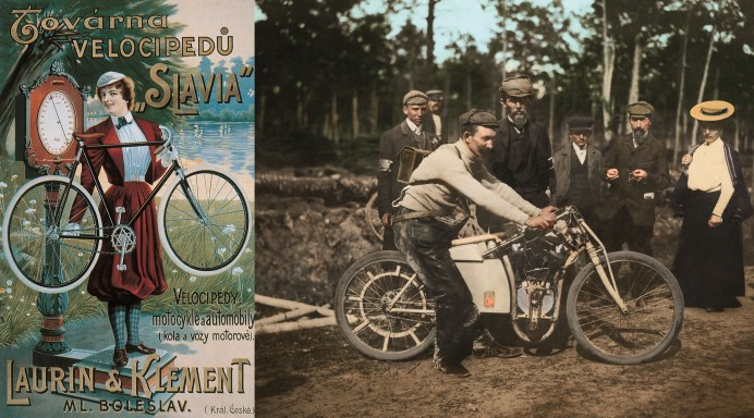 Aus der ursprünglichen Fahrradwerkstatt rollen bald tschechische Fahrräder der Marke Slavia, 1899 wird das Angebot um selbst konstruierte Motorräder erweitert. © Skoda
