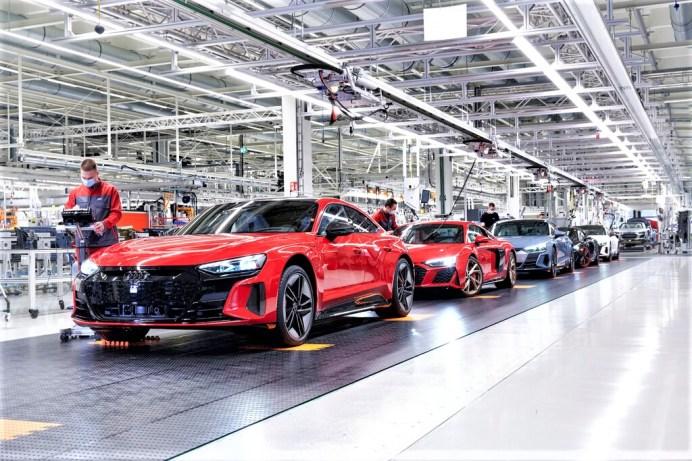 Der Audi e-Tron GT wird in den Böllinger Höfen in Heilbronn auf der gleichen Produktionsstraße wie der R8 gebaut. Foto: Auto-Medienportal.Net/Audi