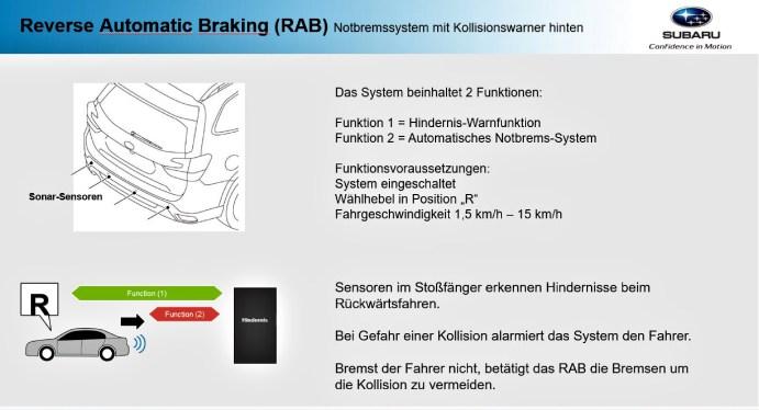 Sonar-Sensoren am Heck ermöglichen Warnung und Notbrems-Funktion. © Subaru