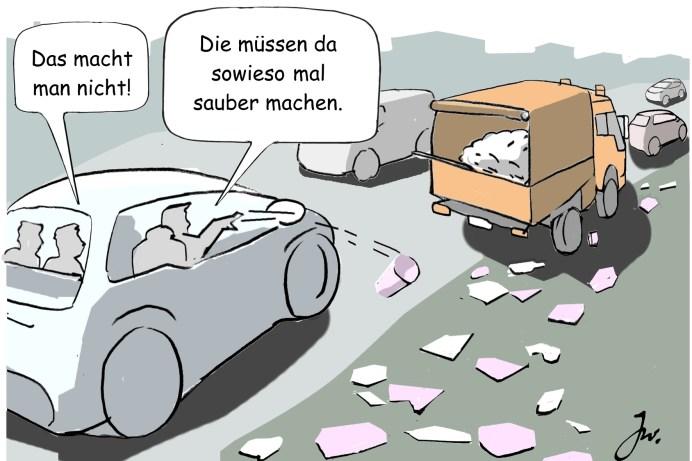 Das achtlose Wegwerfen von sogenanntem Klein- oder Kleinstmüll ist leider weit verbreitet, auch unter Autopassagieren. © Goslar Institut