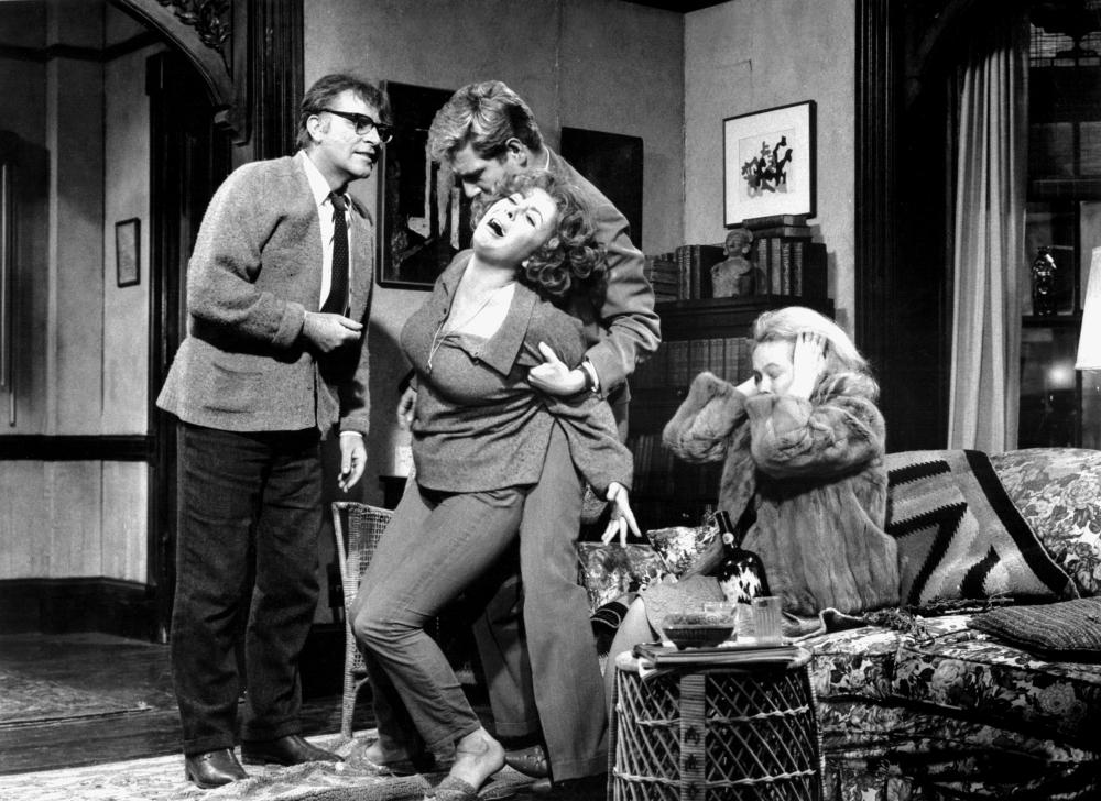 A picture of George, Martha, Nick, and Honey caught in an emotional tableau.