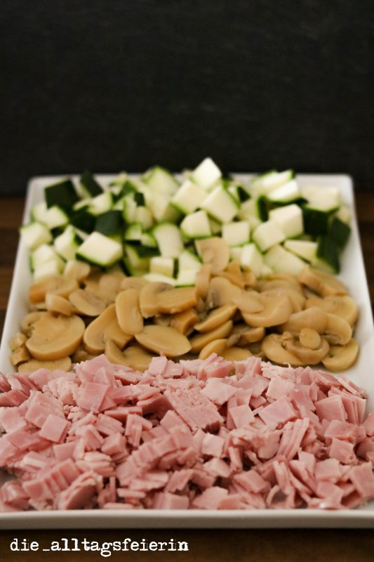 Reisfrischkäsepfanne, Reispfanne, Frischkäse, Reis, Schinken, Zucchini, Champignons, Familienrezept
