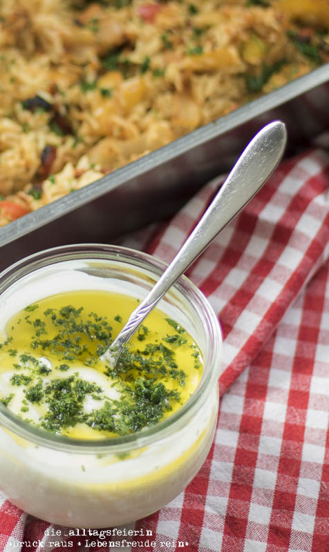 kroatisches Reisfleisch, kochen, Familienküche, aus dem Ofen, Paprika, Rezept, Knoblauch, Knoblauchjoghurt