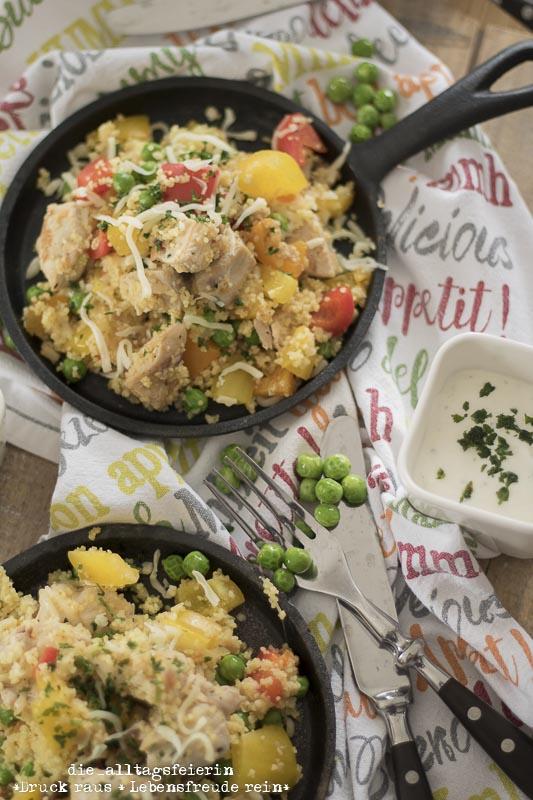 {REZEPT} * Couscous-Pfanne mit Hühnchen und Gemüse *
