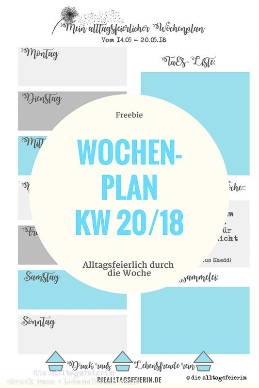 Wochenplan KW 20/18 * Ideen aus der Alltagsfeiereiküche *
