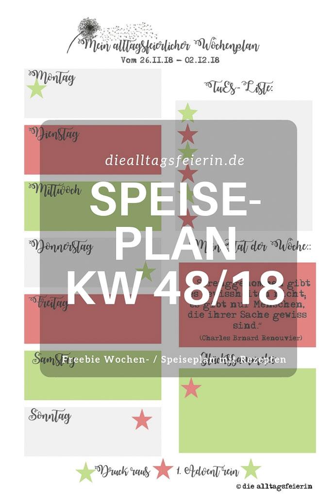 Speiseplan KW48/18 * 7 Tage – 7 Plätzchen *