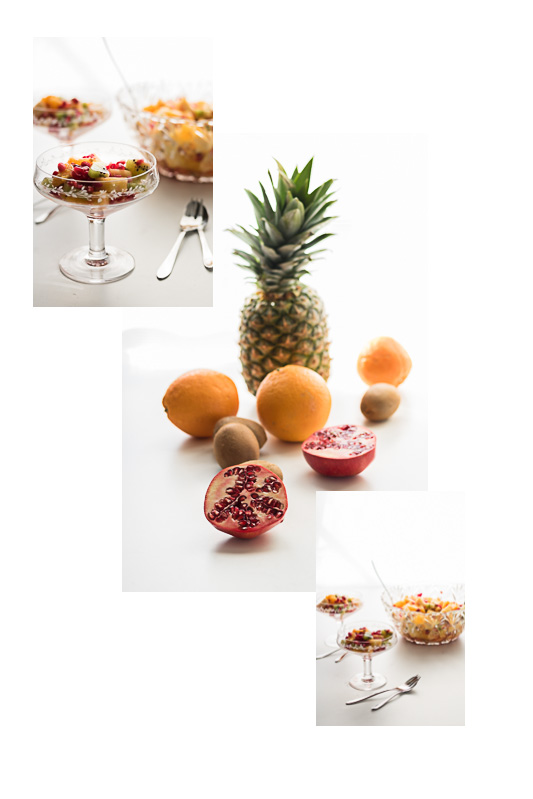 Obstsalat, Obstsalat mit Suedfruechten, Granatapfel, Ananas, Orangen, Kiwi, Mealprep, Ananas verarbeiten, Granataepel einfrieren, Kiwi werden bitter, Orangen filetieren, diealltagsfeierin.de, alltagsfeierei, Brunch, Osterbrunch, Fruehstück, gesunde Kueche