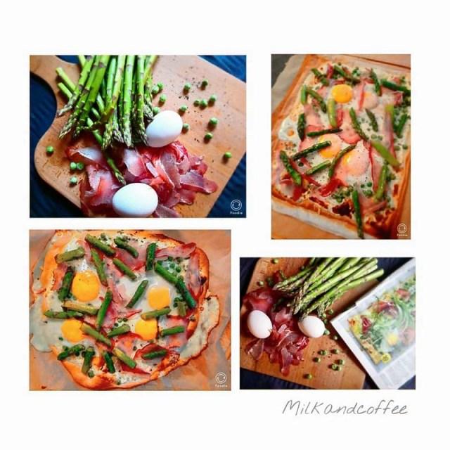 Fruehlingspizza, Pizza Pisello, Pizza mit Ei, gruener Spargel, roher Schinken, Erbsen, Gastbeitrag diealltagsfeierin.de mit Bianca @milkandcoffee73, Pizzarezept,