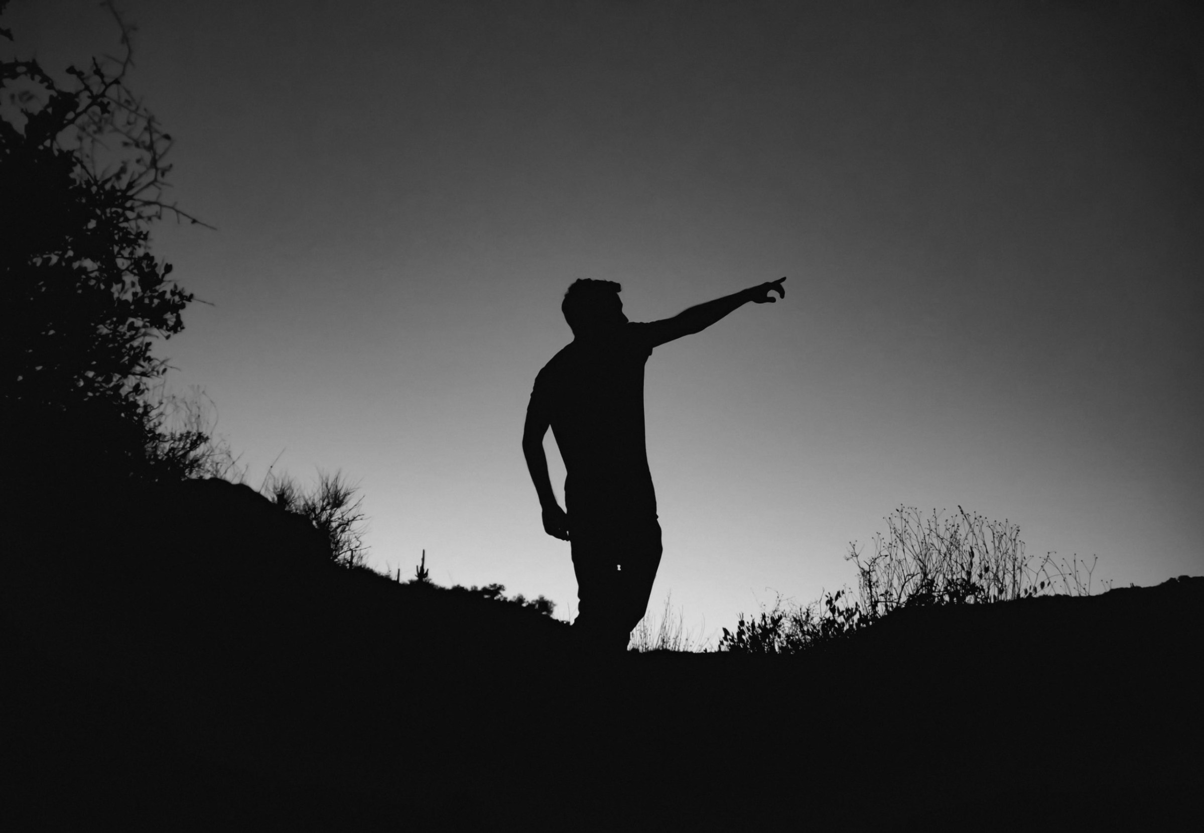 man in silhouette photo standing on cliff