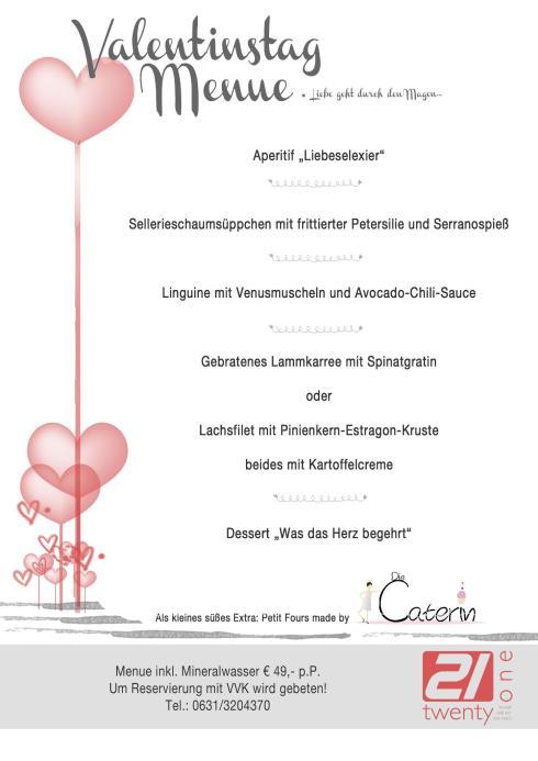Menü Valentinstag twenty one