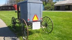 Die Kutschen müssen Bremslicht und Rückstrahler haben, diese hat sogar hydraulische Bremsen