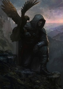 hunter fantasy art artwork falcon bird falconry 1131x1600 wallpaper