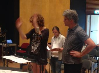 """Helena Cánovas Parés rehearsing my piece """"Don't condescend (Don't even disagree)"""" (2014) with the Meitar Ensemble and Guy Feder. Me, looking at the score, in the back."""