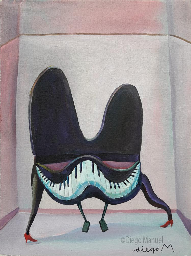 piano sonriente, acrylic on canvas, 31 x 40 cm. 2008. , pintura de la Serie Piano del artista Diego Manuel