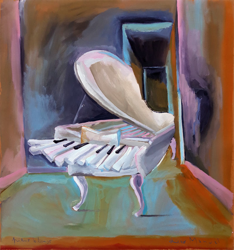white piano, acrylic on canvas, 65 x 70 cm. , year 2004 , pintura de la Serie Piano del artista Diego Manuel