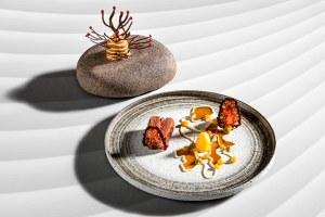 Exklusiv essen in Obertauern: Taube mit Zirbenzapfen | Wasserkastanie | Khao Neaw Ma Muang im Abstraktum by Hotel Das Seekarhaus.  Foto: Hotel Das Seekarhaus