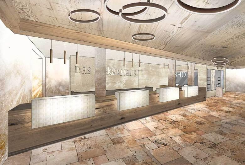 Der neue Rezeptionsbereich im Fünf-Sterne-Hotel Das Seekarhaus. Visualisierung: Seekarhaus