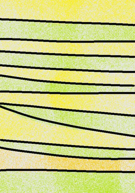 Horizontal sections of a light green, outlined in black, stand out from background of yellow, except for one orange section.