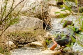 Foto von einem Kind, das am Fluss spielt