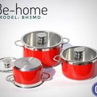 Bộ nồi Inox Be-home 3 chiếc BH3MD màu đỏ