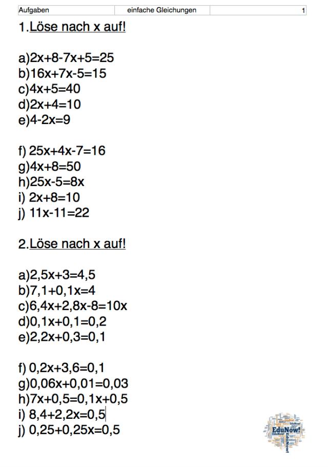 Gleichungen I Aufgaben