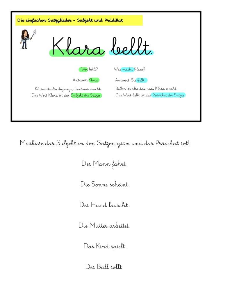 Grammatik einfache Struktur Subjekt Prädikat deutsch Grundschule