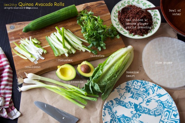 Quinoa avocado roll ingredients