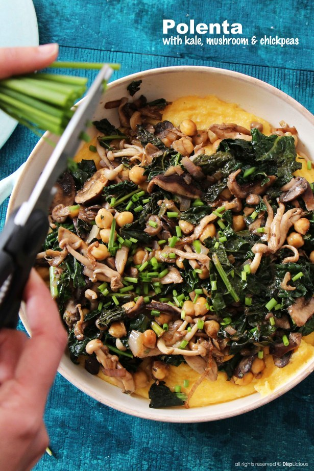 polenta with kale-mushrooms