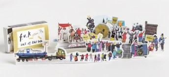 """Oona Valarie Serbest """"Out of the Box, Feminismus und Krawall 2012–19"""", 2019 Illustrationen aus der Streichholzschachtel, Druck auf Papier, 4 × 13 x 8 cm, Neuproduktion. Foto Otto Saxinger"""