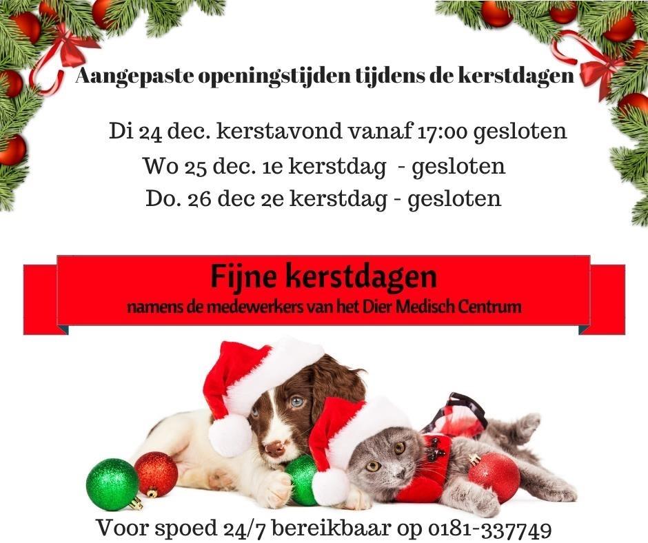 Gewijzigde openingstijden ivm kerst en oud en nieuwjaar