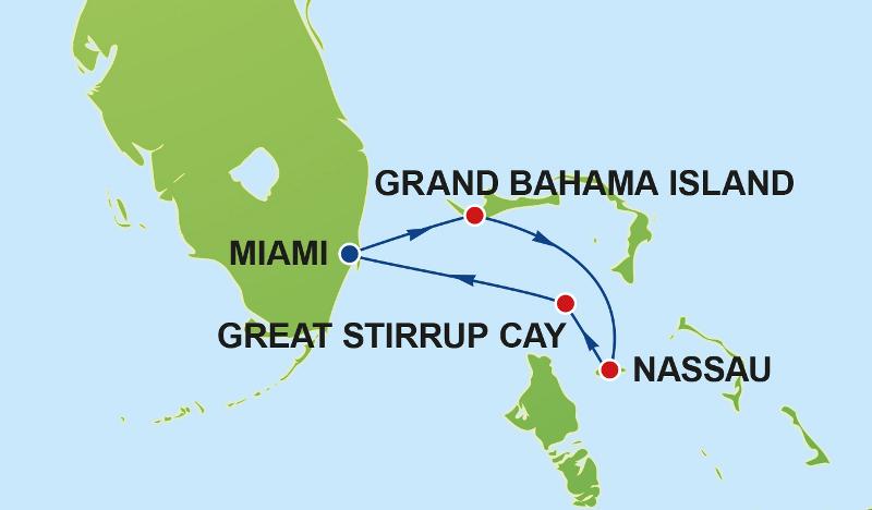 Bahamas-Route Karte © Norwegian Cruise Line