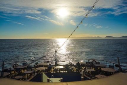 Sonnenuntergang an Bord der MS Berli