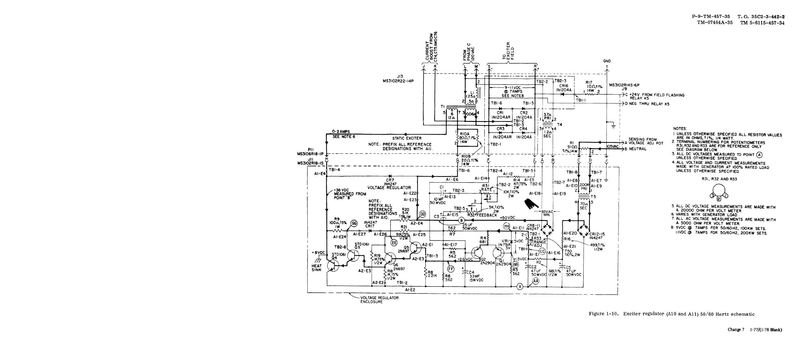 Figure 1 10 Exciter Regulator A10 And A11 50 60 Hertz