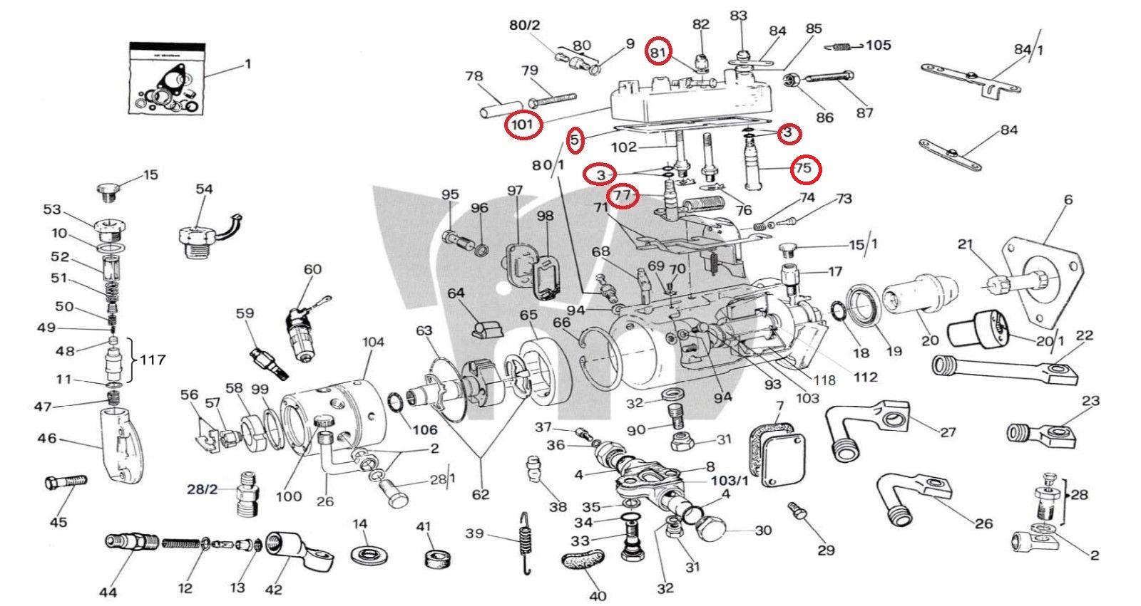 Cav Top Cover Fuel Leak Repair Set