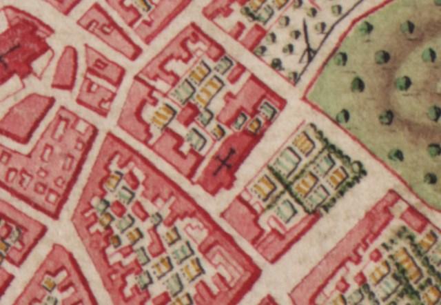 De Sint Barbarakerk op de Ferrariskaart uit 1777