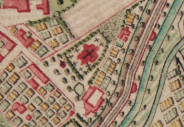 De Sint-Janskerk Ruïne op de Ferarris kaart an 1777