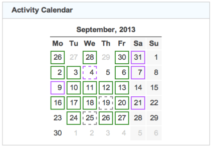 activity calendar 20130930