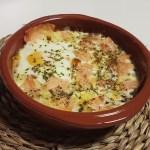 Huevo al plato con salmón