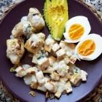 tofu y alcachofas con salsa roquefort