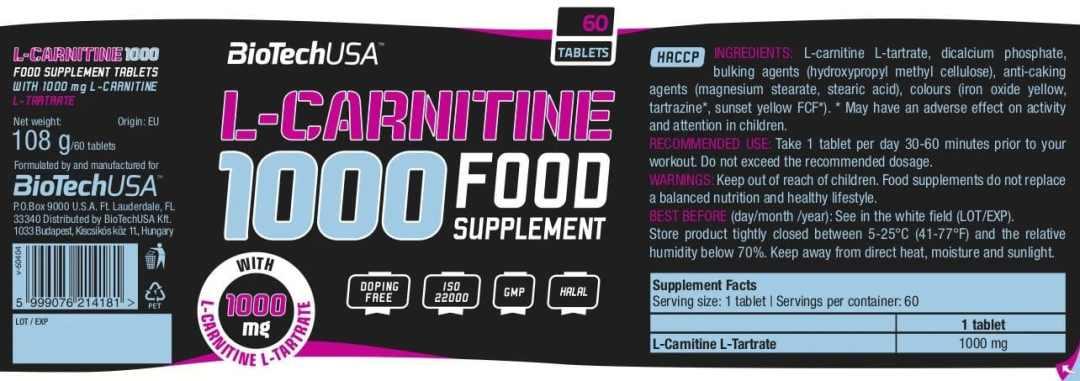 valeur nutrition l-carnitine