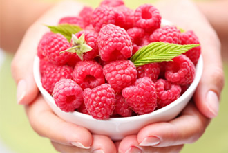 Bowl full of raspberries