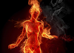 woman made of fire