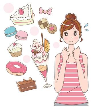 甘い食べ物を食べたい女性のイラスト