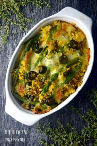 Zapiekanka z kaszy jaglanej z cury fasolką i oliwkami