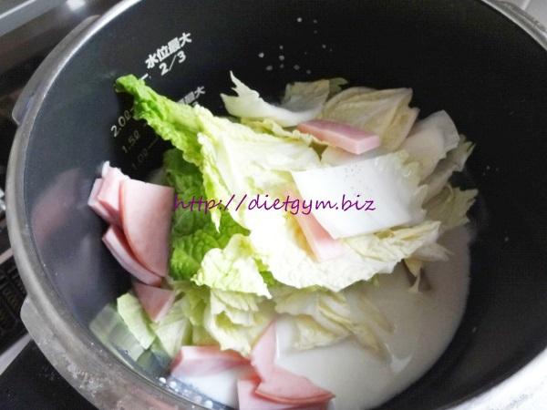 糖質制限レシピ 白菜とハムのミルク煮作り方