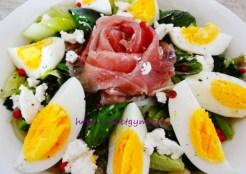 ゆで卵と生ハムのしらたきパスタ 糖質制限