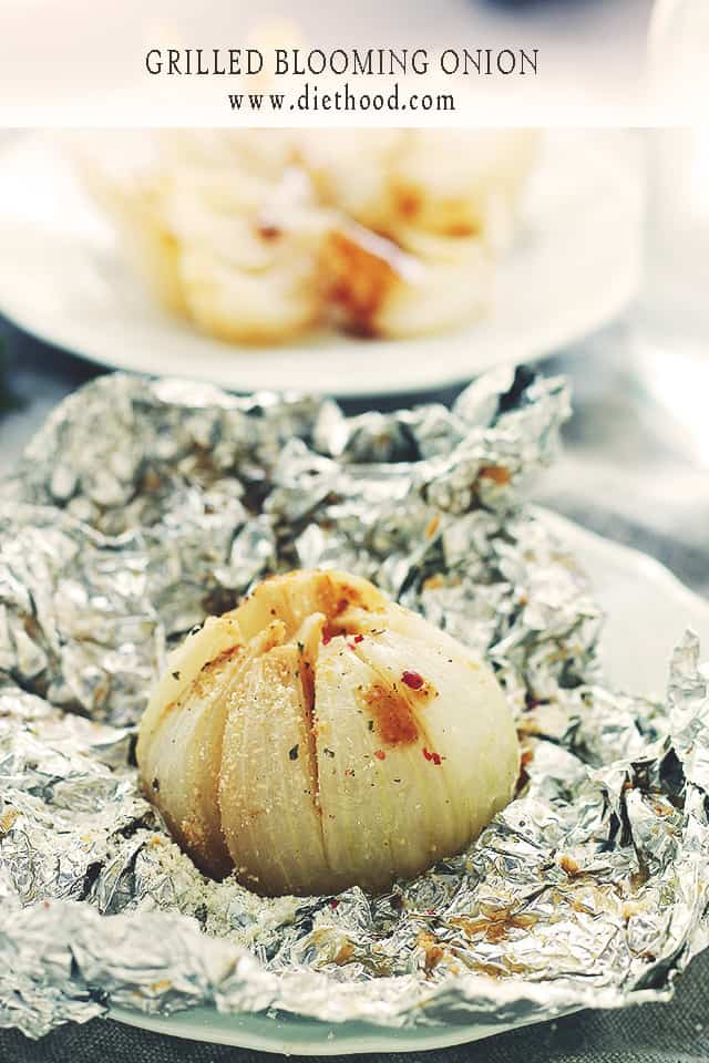 Grilled Blooming Onion | www.diethood.com | Your favorite steakhouse appetizer, healthified! | #recipes #appetizers #healthy