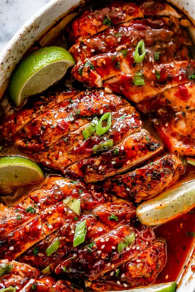 Honey Sriracha Baked Chicken Breasts
