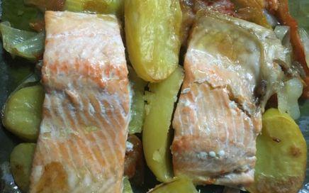receta asado de pescado y verduras