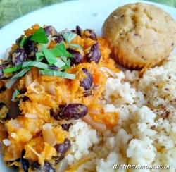Vegan, plant-based, egg-free, dairy-free, nut-free, gluten-free, sweet potato, black bean mash quick meal family recipe, easy meals, less than ten ingredients